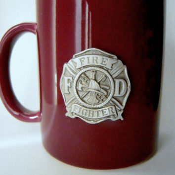 Reduced price - Firefighter pewter crested mug, new never used,man cave,unisex mug,burgundy glass coffee tea mug, firefighter gift, barware.