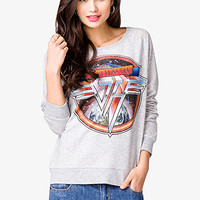 FOREVER 21 Van HalenTM Sweatshirt Heather Grey/Black Medium