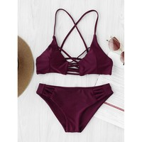 Criss Cross Cutout Beach Bikini Set - Womens Push-Up Padded Swimwear Swimsuit Bathing Suit