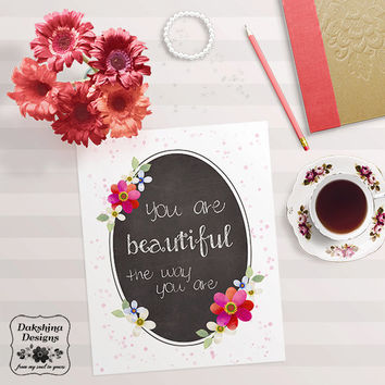 Printable Design - Chalkboard Print - You are beautiful - Inspirational - Magenta Watercolor Flowers - Hand-drawn Typography - Uplifting Art