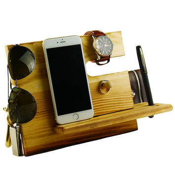 Wooden Phone Docking Station with Key Holder, Pen Holder, Wallet and Watch Organizer Men and Women's Gift
