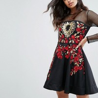 A Star is Born Rose Embroided Mini Skater Dress at asos.com