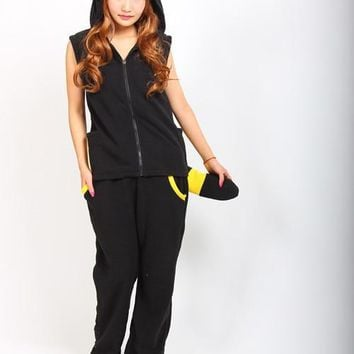 Umbreon Cosplay Hoodie Tops with Ears Tails + Pants Women Men Sleeveless Hoodies Halloween Carnival Costumes S - XLKawaii Pokemon go  AT_89_9