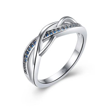 Solid fine 925 sterling silver celtic rings for women classic Irish wedding jewelry blue birthstone September perfect girls gift