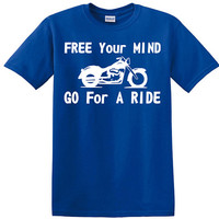 Free Your Mind Go For A Ride, t-shirt, bikers, motorcycle, in the wind, tattoo lover, gift for bikers, motorcycle lovers, gift for him