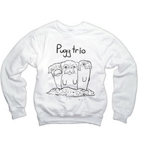 Pugg Trio Sweatshirt | Black Pug Sweater | Animal Clothing