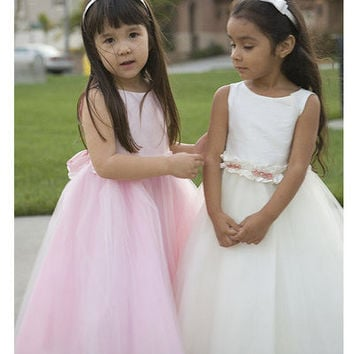 Flower Girl Dress in White Dupioni Silk