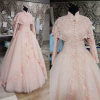 2016 New Vintage High Neck Long Sleeve with Cape Lace Appliques Beads Pink Ball Gown Muslim Wedding Dresses