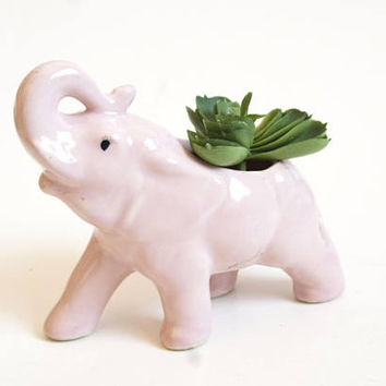 Vintage Pink Elephant Planter, Succulent Flower Pot, Kitsch 1950's Decor, Indoor Garden