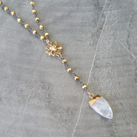 Moonstone Necklace, Moonstone Arrowhead Necklace, Gold Moonstone Arrowhead Necklace, Arrowhead Necklace, Gold Arrowhead Necklace, Moonstone