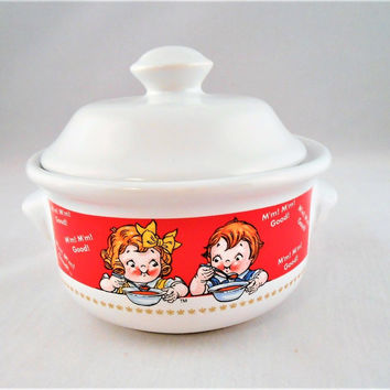 1998 Campbell Soup Crock Sugar Ceramic Bowl Pot w/ Lid & Handles Collectible