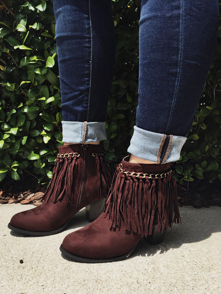 Life Is Good Fringe Ankle Boots - Brown from Chocolate Shoe