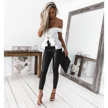 Bow Off Shoulder Pure Color White Crop Top