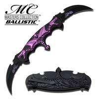 SPRING ASSIST - 'LEGAL AUTOMATIC' KNIFE - DOUBLE BLADE PURPLE FLAMING DRAGON