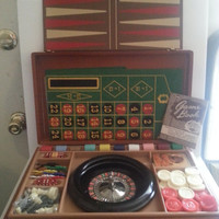 1944 Casino Travel Board Game Briefcase, Original New Old Stock, Roulette, Chess, Checkers, Poker, Horse Racing, Backgammon