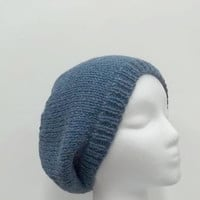 Beanie Slouch hat denim blue wool knitted beret size med   4964