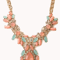 Old Charm Faux Gemstone Bib Necklace