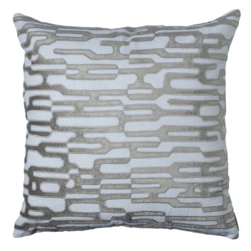 Christian White and Platinum Square Pillow by Lili Alessandra