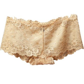 Women Lace Panties Lingerie Cotton Underwear Briefs Knickers Beige