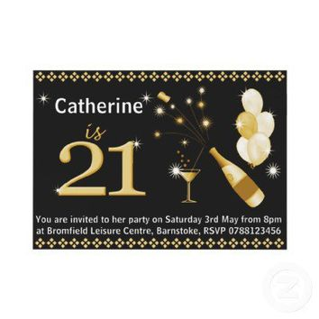 21st Birthday Party Invitations - Black & Gold from Zazzle.com