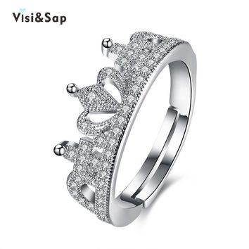 Visisap Luxury King & Queen Crown Acceorises Open Rings For Women Men Valentine's Gifts Fashion Jewelry DropShipping VLKR946