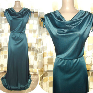 Vintage 70s EMERALD Draped Grecian Goddess Gown Maxi Dress M/ L