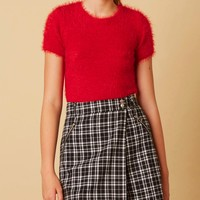 fuzzy sweater crew neck crop top - red
