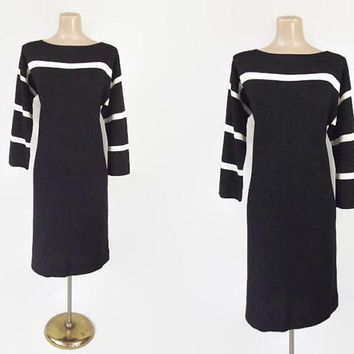 Vintage Bonnie Cashin Sweater Dress | Cashin Country Knit Dress | 1970s Vintage Designer Dress | Black & White Striped | Nautical Mod | L XL
