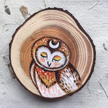 Wood burned and Painted Luna Owl // Magnet or Twine Hanging  // Hand painted holiday ornaments