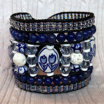 5 Row BLUE IVORY Porcelain Leather Wrap Bracelet Cuff: Faceted Crystal, Navy Semi Precious Agate, Clam Shell Heishi, Czech Glass Carved Bone