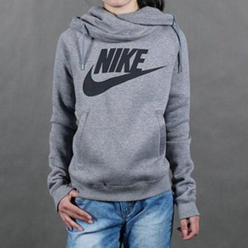 ESBON Nike' Women Sport Casual Logo Letter Print Long Sleeve Hooded Sweater Pullover Sweatshirt Tops