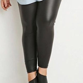 Stretchy Black Patent Leather Like Liquid Wet Look Legging Pants