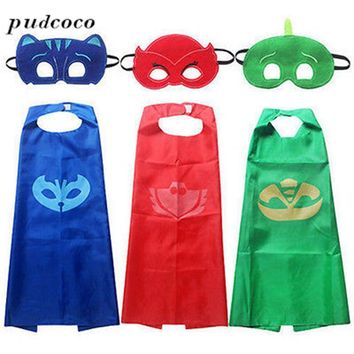 2017 Hot Sale 2pcs Baby Set NEW Superhero PJ Masks Cape Set Gekko Owlette Catboy Kids Costume Party Clothing