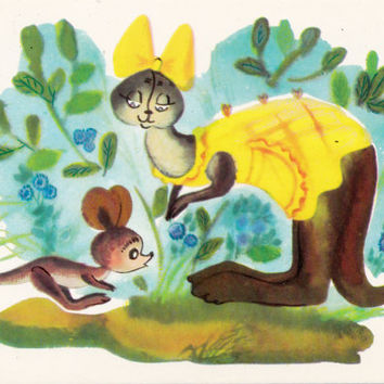 Postcard Illustration by Sorokina (A. A. Milne - Winnie-the-Pooh) no.5 - 1976. Fine Arts, Moscow