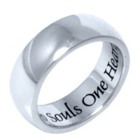 "Stainless Steel Men or Womens Band Ring with ""Two Souls One Heart"" Inscribed"