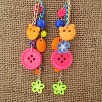 Button Earrings Neon Orange Yellow Pink Blue Green Sew Sewing Bear Metal Chain Jewelry Crafty Earrings CELEBRATION SALE! Buy 1 Get 2 Free