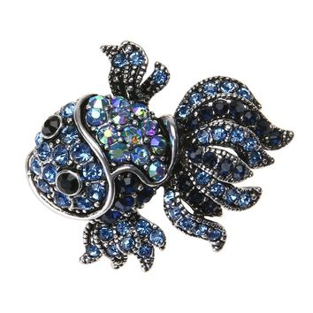 Fashion Vintage Cute Blue Crystal Fish Brooch Pin Women Men's Animal Shinny Goldfish Brooch for Women Gift Best Christmas Gift