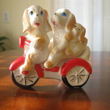 Vintage Salt and Pepper Shakers, Family of Dogs on Trike, Spaniel Dog, Ceramic, Unique Design, Souvenir, Hinton Canada