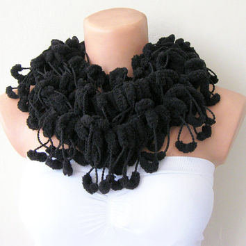Black Cute Pom Pom Long Mulberry Scarf Christmas Gift