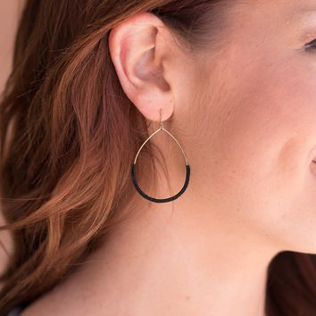 String Wrapped Wire Earrings - Black