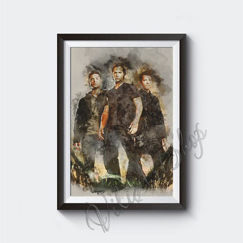 Supernatural Poster, Sam, Dean and Castiel, Supernatural Watercolor Art Print, Jensen Ackles, Jared Padalecki, Misha Collins