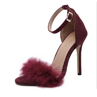 New pattern Summer Word buckle stiletto heel Fish mouth Really rabbit High heels 11CM sandals Women's Shoes Big code 40