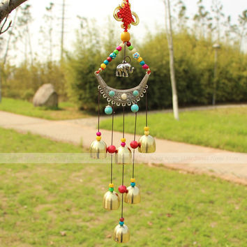 Yazi Traditional Chinese Lucky Elephant Wind Chimes Copper ~