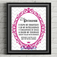 Printable Girl's Room Wall Art / Recipe for a Princess / Bedroom Decor / Nursery Wall Hanging - Pink Glitter- Digital Files - PDF & JPG