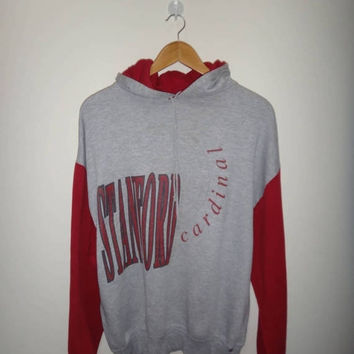 15% OFF Sale Rare Vintage STANFORD CARDINAL Sweater Hooded Russel 50/50