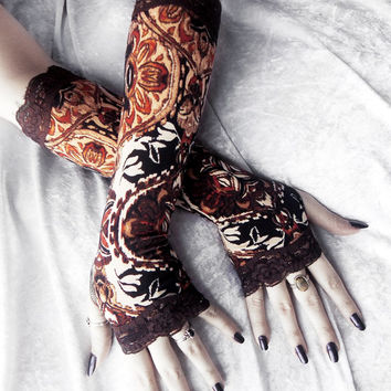 Volitant Gasworks Arm Warmers - Brown Tan Rust Cream Black Ikat Damask Floral & Lace - Steampunk Noir Gothic Yoga Lolita Goth Bohemian Boho