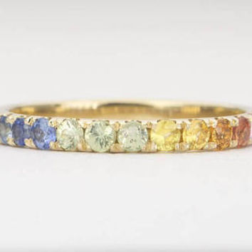 Rainbow Sapphire Ring 14K Gold *Full Eternity* 2mm Wedding Band Gradient September Birthstone Stacking Rings Stackable Blue Pink AD1509