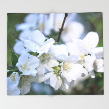 Hawthorne Flowers After Rain Throw Blanket by Theresa Campbell D'August Art