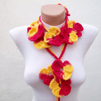 Hand crochet Lariat Scarf Red Yellow Flower Lariat Scarf Colorful Variegated Long Necklace Winter Fashion