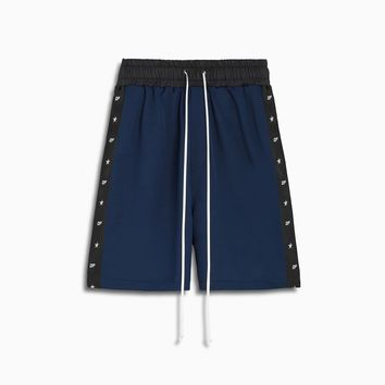 track team gym short / indigo + black